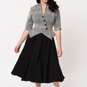 Miss Candyfloss Delphine-Lou Grey & Black Dress XL